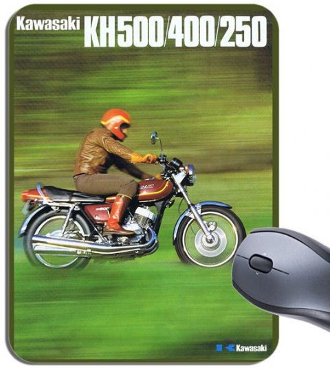 Vintage KH250, KH400, KH500 Advert Poster Mouse Mat. Motorcycle Bike Mouse Pad